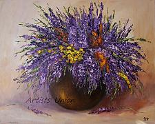 Buy Purple Wild Flowers Original Oil Painting Still Life Impasto Lavender Palette Knife F