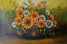 Buy Sunflowers Original Oil Painting White Daisies Impasto Still Life Palette Knife Art