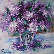 Buy Purple Lilacs Original Oil Painting Still Life Impasto Palette Knife Fine Art Flowers