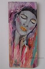 Buy Woman Original Oil Painting Fine Art Portrait on Wood Girl Pink Gray shabby chic tone