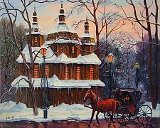 Buy Horse Carriage Original Oil Painting Cityscape Church Park Forest Town Lamps Fine Art