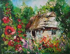 Buy Cottage Mallows Garden Original Oil Painting Landscape Flowers Tree Impasto Art Malva