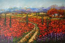 Buy Tuscany Original Oil Painting Landscape Red Poppies Lavender Trees Palette Knife Art