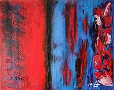 Buy J. M. Iantis Contemporary Art Original Acrylic Painting Modern Abstract Impasto Red