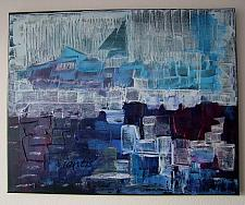 Buy J. M. Iantis Seascape Abstract Original Painting Harbour Impasto Blue Purple Modern