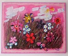 Buy Abstract Meadow Original Acrylic Painting Impasto Art Iantis Flowers Landscape Pink