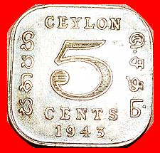 Buy + QUADRANGULAR (1942-1945): CEYLON ★ 5 CENTS 1943! LOW START★NO RESERVE!