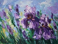Buy Purple Irises Original Oil Painting Meadow Delicate Paint Texture Flowers Fine Art