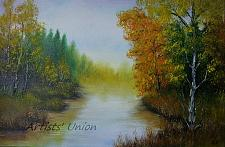 Buy Autumn River Original Oil Painting Landscape Fall Forest Trees Palette Knife Fine Art