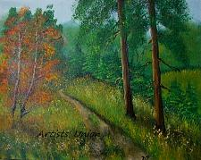 Buy Landscape Original Oil Painting Forest Meadow Mountain Path Fall Grass Autumn Trees