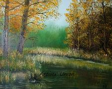 Buy Autumn Landscape Original Oil Painting Wetlands Forest Grass Fall Trees Offer
