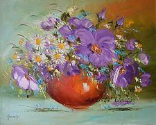 Buy Still Life Purple Flowers Original Oil Painting Palette Knife Impasto Art Daisies