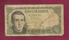Buy SPAIN 5 Pesetas 1951 Banknote N2827162 - Jaime Balmes at left P140 Watermark