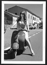 Buy EURO MODEL BUSTY BOSOMY POSE ON HER VESPA SCOOTER PHOTO 5X7 REPRINT BBE-617