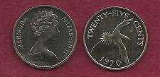 Buy Bermuda Islands 25 Cent 1970 Yellow Billed Tropical Bird Queen -Elizabeth II UNC Coin