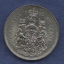 Buy CANADA 50 Cents 1982 COIN -0.800 SILVER ASW (11.66g 0.300 Oz Silver) Queen Elizabeth