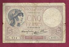 Buy FRANCE 5 Francs 1940 Note 1695260724 - HISTORICAL WWII Currency !!!