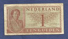 Buy NETHERLANDS 1 Gulden 1949 Banknote 4LU014993, Queen Julianna at left P72 - WWII Era