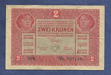 Buy Austria Hungary 2 KRONEN KORONA 1917 BANKNOTE No. 807148