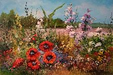 Buy Meadow Original Oil Painting Red Poppies Landscape Palette Knife Wild Flowers Impasto