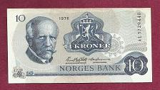 Buy NORWAY 10 Kroner 1976 Banknote Serial# AL5729440 - Fridtjof Nansen /Coat of Arms