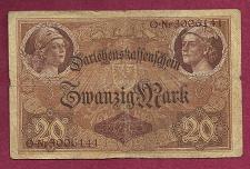 Buy GERMANY 20 Mark 1914 Banknote Nr3006141 - German Empire P48b