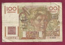 Buy FRANCE 100 Francs 1952 Banknote No 1378879674 - JEUNE PAYSA