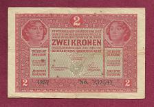 Buy Austria Hungary 2 KRONEN KORONA 1917 BANKNOTE No. 232597