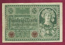 Buy GERMANY 50 MARK 1920 Banknote B8243679 -Weimar Republic Woman Right wFlowers/Fruit
