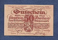 Buy AUSTRIA 50 Heller 1920 Banknote Steiermark, Notgeld P10314 - Light Orange
