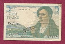 Buy FRANCE 5 FRANCS 1943 Banknote 050395107 Historic WWII ISSUE Shepherd Woman w/Flowers
