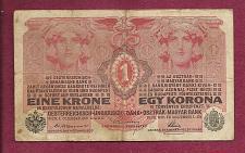 Buy Austria Hungary 1 KRONE KORONA 1916 BANKNOTE No. 398584