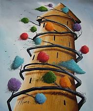 Buy P. Sliwka Abstract Tree Original Oil Painting Surrealism Contemporary Fine Art Modern