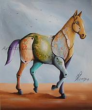 Buy Pawel Sliwka Horse Original Oil Painting Contemporary Fine Art Modern Cubism Animal