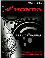 Buy 1998-2003 Honda VT750C / CD / CD2 Shadow / Ace Service Shop Manual on a CD