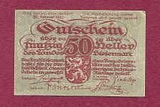 Buy AUSTRIA 50 Heller 1920 Banknote Steiermark, Notgeld P10312 - Light Green