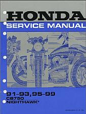Buy 1991-1999 Honda CB750 Nighthawk 750 Service Repair Shop Manual on CD