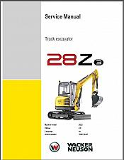 Buy Wacker Neuson 28Z3 Track Excavator Service Repair & Parts Manual CD -- 28Z
