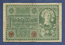 Buy GERMANY 50 MARK 1920 Banknote A8843813 - Weimar Republic Woman Right wFlowers/Fruit