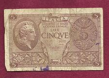 Buy ITALY 5 Lire 1944 Banknote 137860 0596 - Historic WWII Currency!