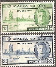 Buy Malta: Sc. no. 0206-0207 (1946) MLH Complete Set