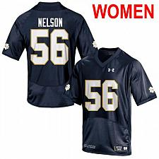 Buy Women's Notre Dame #56 Quenton Nelson 2019 NCAA Football Jersey Navy