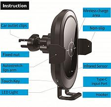 Buy Automatic clamping car wireless charger mount on dash board and air vent