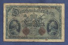 Buy GERMANY 5 MARK 1914 P47b Banknote T9106269 - DARLENSKAFFEHSCHEIN -Germania left right