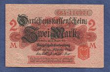 Buy GERMANY 2 MARK 1914 BANKNOTE 664-110901 - Red Seal, Darlehnskassenschein - UNC