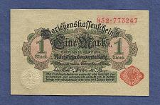 Buy GERMANY 1 MARK 1914 BANKNOTE 852-773247 Red Seal, Darlehnskassenschein
