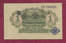 Buy GERMANY 1 MARK 1914 BANKNOTE 86-722460 - BLUE Seal, Darlehnskassenschein UNC
