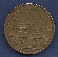Buy FRANCE 10 Francs 1977 Coin - Ni-Brass Coin, High Tension Towers Mathieu