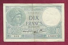 Buy FRANCE 10 Francs 1941 Banknote 2115075512 - WWII Currency P84 - Minerva in HelmeT
