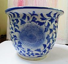 Buy Rare Big White and Blue China Porcelain Flowerpot - Ming or Qing Dynasty
